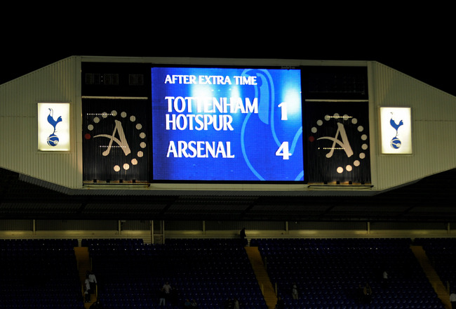 LONDON, ENGLAND - SEPTEMBER 21: The scoreboard shows the final score  during the Carling Cup third round match between Tottenham Hotspur and Arsenal at White Hart Lane on September 21, 2010 in London, England.  (Photo by Michael Regan/Getty Images)