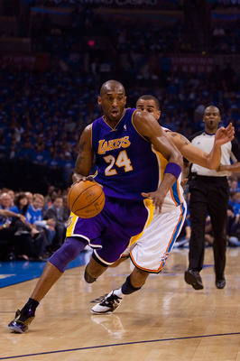 OKLAHOMA CITY - APRIL 22: Kobe Bryant #24 of the Los Angeles Lakers drives to the basket against the Oklahoma City Thunder during Game Three of the Western Conference Quarterfinals of the 2010 NBA Playoffs on April 22, 2010 at the Ford Center in Oklahoma
