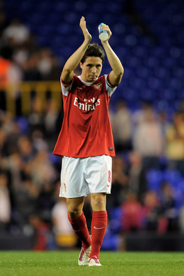 LONDON, ENGLAND - SEPTEMBER 21:  Samir Nasri of Arsenal applauds the fans following his team's 4-1 victory during the Carling Cup third round match between Tottenham Hotspur and Arsenal at White Hart Lane on September 21, 2010 in London, England.  (Photo