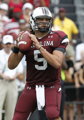 COLUMBIA, SC - SEPTEMBER 11:  Quarterback Steven Garcia #5 of the South Carolina Gamecocks looks to pass during the game against the Georgia Bulldogs at Williams-Brice Stadium on September 11, 2010 in Columbia, South Carolina.  The Gamecocks beat the Bull