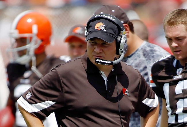 TAMPA, FL - SEPTEMBER 12:  Head coach Eric Mangini of the Cleveland Browns walks along the sideline during the NFL season opener game against the Tampa Bay Buccaneers at Raymond James Stadium on September 12, 2010 in Tampa, Florida.  (Photo by J. Meric/Ge