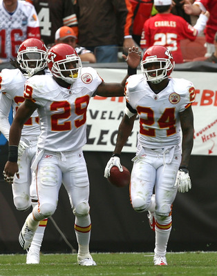 CLEVELAND - SEPTEMBER 19:  Cornerback Brandon Flowers #24 of the Kansas City Chiefs celebrates a touchdown with Eric Berry #29 against the Cleveland Browns at Cleveland Browns Stadium on September 19, 2010 in Cleveland, Ohio.  (Photo by Matt Sullivan/Gett