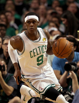 BOSTON - JUNE 13:  Rajon Rondo #9 of the Boston Celtics drives the ball upcourt against the Los Angeles Lakers in the second quarter during Game Five of the 2010 NBA Finals on June 13, 2010 at TD Garden in Boston, Massachusetts. NOTE TO USER: User express