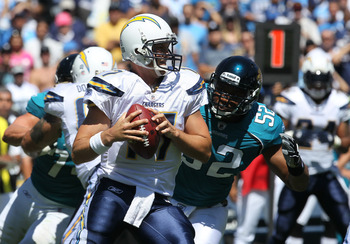 SAN DIEGO - SEPTEMBER 19:  Quarterback Philip Rivers #17 of the San Diego Chargers drops back to pass against the Jacksonville Jaguars at Qualcomm Stadium on September 19, 2010 in San Diego, California. The Chargers won 38-13.  (Photo by Stephen Dunn/Gett