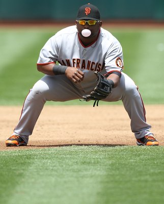 OAKLAND, CA - MAY 22:  Pablo Sandoval #48 of the San Francisco Giants in action against the Oakland Athletics during an MLB game at the Oakland-Alameda County Coliseum on May 22, 2010 in Oakland, California.  (Photo by Jed Jacobsohn/Getty Images)
