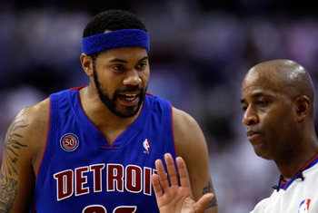 PHILADELPHIA - APRIL 27:  Rasheed Wallace #36  of the Detroit Pistons  talks to referee Derrick Stafford #9 after he was called for a technical foul against the Philadelphia 76ers in Game Four of the Eastern Conference Quarterfinals during the 2008 NBA Pl