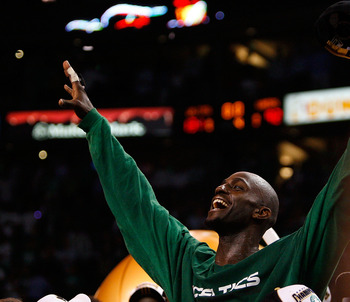 BOSTON - JUNE 17:  Kevin Garnett #5 of the Boston Celtics celebrates at the end of Game Six of the 2008 NBA Finals against the Los Angeles Lakers on June 17, 2008 at TD Banknorth Garden in Boston, Massachusetts. The Celtics defeated the Lakers 131-92 to w