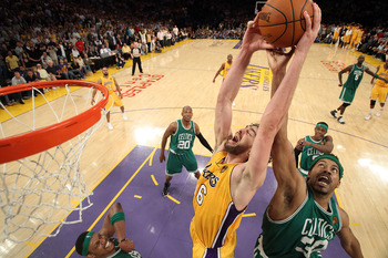 LOS ANGELES, CA - JUNE 17:  Rasheed Wallace #30 of the Boston Celtics and Pau Gasol #16 of the Los Angeles Lakers go up for a rebound in Game Seven of the 2010 NBA Finals at Staples Center on June 17, 2010 in Los Angeles, California.  NOTE TO USER: User e