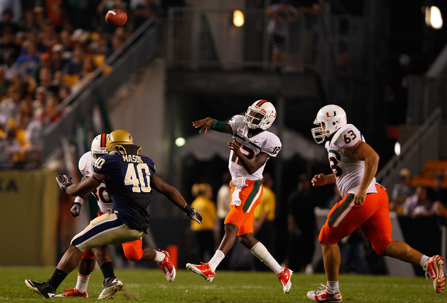 PITTSBURGH - SEPTEMBER 23:  Jacory Harris #12 of the Miami Hurricanes throws a pass against the Pittsburgh Panthers on September 23, 2010 at Heinz Field in Pittsburgh, Pennsylvania.  (Photo by Jared Wickerham/Getty Images)