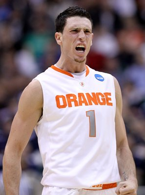SALT LAKE CITY - MARCH 25:  Andy Rautins #1 of the Syracuse Orange yells against the Butler Bulldogs during the west regional semifinal of the 2010 NCAA men's basketball tournament at the Energy Solutions Arena on March 25, 2010 in Salt Lake City, Utah.