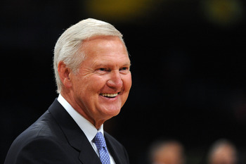 LOS ANGELES, CA - JUNE 03:  Former Lakers player and Genral Manager Jerry west looks on as the Boston Celtics play the Los Angeles Lakers in Game One of the 2010 NBA Finals at Staples Center on June 3, 2010 in Los Angeles, California.  NOTE TO USER: User