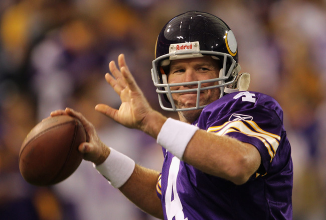MINNEAPOLIS - SEPTEMBER 19:  Quarterback Brett Favre #4 of the Minnesota Vikings warms up prior to the start of the game against the Miami Dolphins on September 19, 2010 at Hubert H. Humphrey Metrodome in Minneapolis, Minnesota.  (Photo by Jamie Squire/Ge