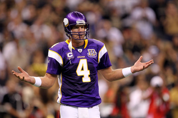 NEW ORLEANS - SEPTEMBER 09:  Quarterback Brett Favre #4 of the Minnesota Vikings reacts as he looks to the VIkings sideline against the New Orleans Saints at Louisiana Superdome on September 9, 2010 in New Orleans, Louisiana.  (Photo by Ronald Martinez/Ge