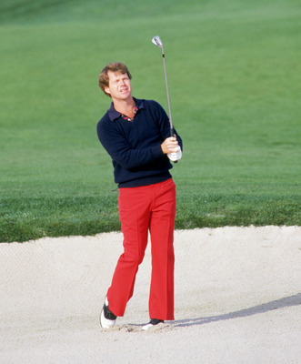 SAN DIEGO - 1985:  Tom Watson hits the ball during the 1985 Skins Game at Bear Creek in San Diego, California. (Mike Powell/Getty Images)