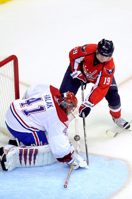 WASHINGTON - APRIL 15:  Jaroslav Halak #41 of the Montreal Canadiens makes a save against Nicklas Backstrom #19 of the Washington Capitals in Game One of the Eastern Conference Quarterfinals during the 2010 NHL Stanley Cup Playoffs at Verizon Center on Ap
