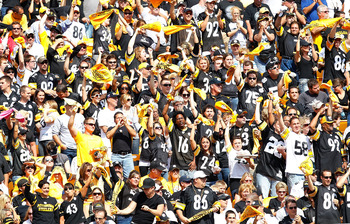 PITTSBURGH - SEPTEMBER 12:  Fans cheer during the Pittsburgh Steelers NFL season opener game against the Atlanta Falcons on September 12, 2010 at Heinz Field in Pittsburgh, Pennsylvania.  (Photo by Jared Wickerham/Getty Images)