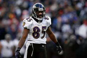 FOXBORO, MA - JANUARY 10:  Derrick Mason #85 of the Baltimore Ravens smiles on the field against the New England Patriots during the 2010 AFC wild-card playoff game at Gillette Stadium on January 10, 2010 in Foxboro, Massachusetts. The Ravens won 33-14. (
