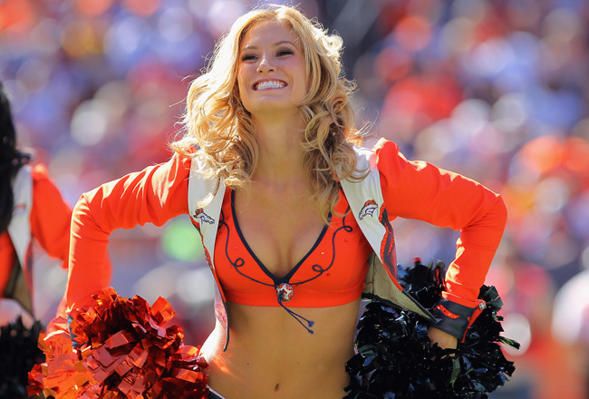 DENVER - SEPTEMBER 26:  A member of the Denver Broncos cheerleaders performs during a break in the action against the Indianapolis Colts at INVESCO Field at Mile High on September 26, 2010 in Denver, Colorado. The Colts defeated the Broncos 27-13.  (Photo