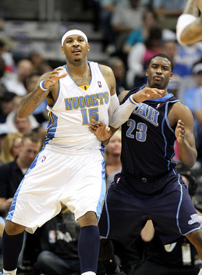 DENVER, CO - APRIL 17: Carmelo Anthony #15 of the Denver Nuggets posts up against Wesley Matthews #23 of the Utah Jazz during the second half of Game One of the Western Conference Quarterfinals of the 2010 NBA Playoffs at the Pepsi Center on April 17, 201