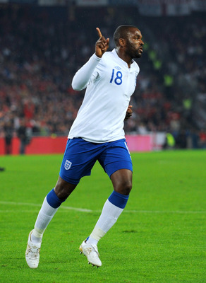 BASEL, SWITZERLAND - SEPTEMBER 07:  Darren Bent of England celebrates scoring his team's thrid goal during the EURO 2012 Group G Qualifier between Switzerland and England at St Jakob Park on September 7, 2010 in Basel, Switzerland.  (Photo by Michael Rega