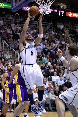 SALT LAKE CITY - MAY 10:  Carlos Boozer #5 of the Utah Jazz shoots against the Los Angeles Lakers during Game Four of the Western Conference Semifinals of the 2010 NBA Playoffs on May 10, 2010 at Energy Solutions Arena in Salt Lake City, Utah. NOTE TO USE
