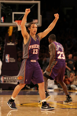 LOS ANGELES, CA - MAY 27:  Steve Nash #13 of the Phoenix Suns reacts after Jason Richardson #23 tied the game in the final seconds of Game Five of the Western Conference Finals against the Los Angeles Lakers during the 2010 NBA Playoffs at Staples Center