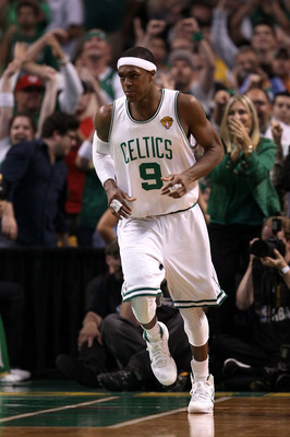 BOSTON - JUNE 13:  Rajon Rondo #9 of the Boston Celtics runs up the court against the Los Angeles Lakers during Game Five of the 2010 NBA Finals on June 13, 2010 at TD Garden in Boston, Massachusetts. NOTE TO USER: User expressly acknowledges and agrees t