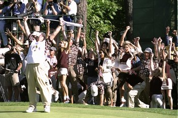 Justin Leonard sunk a long putt to clinch the USA victory in the 1999 Ryder Cup