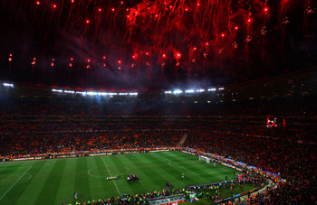 JOHANNESBURG, SOUTH AFRICA - JULY 11:  A general view of atmosphere as Spain win the World Cup during the 2010 FIFA World Cup South Africa Final match between Netherlands and Spain at Soccer City Stadium on July 11, 2010 in Johannesburg, South Africa.  (P