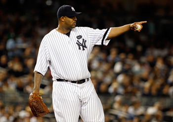 NEW YORK - SEPTEMBER 23:  CC Sabathia #52 of the New York Yankees looks on against the Tampa Bay Rays on September 23, 2010 at Yankee Stadium in the Bronx borough of New York City.  (Photo by Mike Stobe/Getty Images)