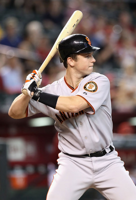PHOENIX - SEPTEMBER 06:  Buster Posey #28 of the San Francisco Giants at bat during the Major League Baseball game against the Arizona Diamondbacks at Chase Field on September 6, 2010 in Phoenix, Arizona. The Giants defeated the Diamondbacks 2-0 in eleven