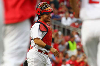 ST. LOUIS - SEPTEMBER 19: Yadier Molina #4 of the St. Louis Cardinals smiles after beating the San Diego Padres at Busch Stadium on September 19, 2010 in St. Louis, Missouri.  The Cardinals beat the Padres 4-1.  (Photo by Dilip Vishwanat/Getty Images)