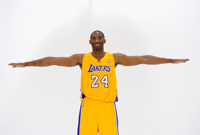 EL SEGUNDO, CA - SEPTEMBER 25:  Kobe Bryant #24  of the Los Angeles Lakers poses during Media Day at the Toyota Center on September 25, 2010 in El Segundo, California. NOTE TO USER: User expressly acknowledges and agrees that, by downloading and/or using