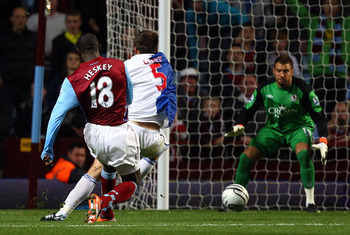 BIRMINGHAM, ENGLAND - SEPTEMBER 22:  Emile Heskey scores the first goal for Villa during the Carling Cup 3rd Round match between Aston Villa and Blackburn Rovers at Villa Park on September 22, 2010 in Birmingham, England.  (Photo by Richard Heathcote/Gett