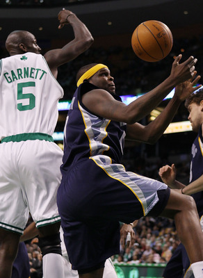 BOSTON - MARCH 10:  Zach Randolph #50 of the Memphis Grizzlies grabs the rebound away from Kevin Garnett #5 of the Boston Celtics on March 10, 2010 at the TD Garden in Boston, Massachusetts. The Grizzlies defeated the Celtics 111-91. NOTE TO USER: User ex