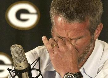 Favre crying as he says farewell for the first time