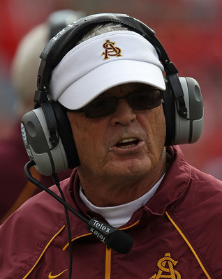 MADISON, WI - SEPTEMBER 18: Head coach Dennis Erickson of the Arizona State Sun Devils argues with a referee during a game against the Wisconsin Badgers at Camp Randall Stadium on September 18, 2010 in Madison, Wisconsin. Wisconsin defeated Arizona State