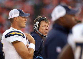 SAN FRANCISCO - SEPTEMBER 02:  Philip Rivers #17 and head coach Norv Turner of the San Diego Chargers watch their game against the San Francisco 49ers from the sidelines at Candlestick Park  on September 2, 2010 in San Francisco, California.  (Photo by Ez