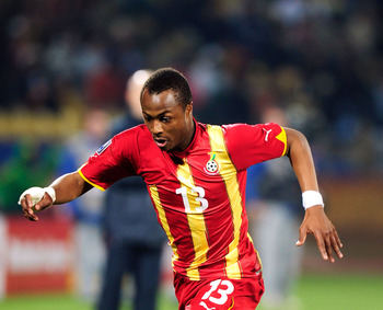 RUSTENBURG, SOUTH AFRICA - JUNE 26:  Andre Ayew of Ghana in action during the 2010 FIFA World Cup South Africa Round of Sixteen match between USA and Ghana at Royal Bafokeng Stadium on June 26, 2010 in Rustenburg, South Africa.  (Photo by Stuart Franklin/