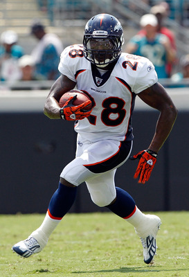 JACKSONVILLE, FL - SEPTEMBER 12:  Correll Buckhalter #28 of the Denver Broncos runs for yardage during the NFL season opener game against the Jacksonville Jaguars at EverBank Field on September 12, 2010 in Jacksonville, Florida.  (Photo by Sam Greenwood/G