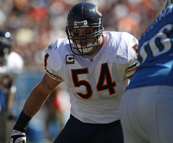 CHICAGO - SEPTEMBER 12: Brian Urlacher #54 of the Chicago Bears follows the play against the Detroit Lions during the NFL season opening game at Soldier Field on September 12, 2010 in Chicago, Illinois. The Bears defeated the Lions 19-14. (Photo by Jonath