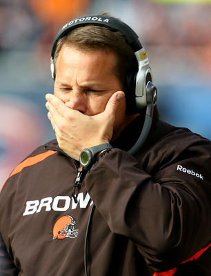 CHICAGO - NOVEMBER 01: Head coach Eric Mangini of the Cleveland Browns reacts as his team takes on the Chicago Bears at Soldier Field on November 1, 2009 in Chicago, Illinois. The Bears defeated the Browns 30-6. (Photo by Jonathan Daniel/Getty Images)