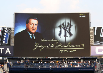 NEW YORK - JULY 16:  The scoreboard displays a photo of George Steinbrenner, Owner of the New York Yankees during his memorial ceremony before the game against theTampa Bay Rays  on July 16, 2010 at Yankee Stadium in the Bronx borough of New York City.  (