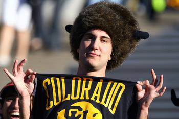 BOULDER, CO - OCTOBER 17: A University of Colorado student shows off his shirt during the game against the Kansas Jayhawks at Folsom Field on October 17, 2009 in Boulder, Colorado. (Photo by Garrett W. Ellwood/Getty Images)