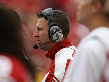 MADISON, WI - SEPTEMBER 18: Head coach Bret Bielema of the Wisconsin Badgers watches as his team takes on the Arizona State Sun Devils at Camp Randall Stadium on September 18, 2010 in Madison, Wisconsin. Wisconsin defeated Arizona State 20-19.  (Photo by