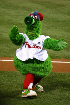 PHILADELPHIA - NOVEMBER 01:  The Philly Phanatic, mascot for of the Philadelphia Phillies performs against the New York Yankees in Game Four of the 2009 MLB World Series at Citizens Bank Park on November 1, 2009 in Philadelphia, Pennsylvania.  (Photo by C