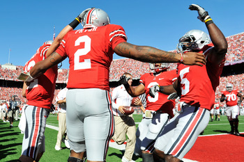 COLUMBUS, OH - SEPTEMBER 25:  Terrelle Pryor #2 of the Ohio State Buckeyes celebrates his 53-yard touchdown run against the Eastern Michigan Eagles in the first quarter at Ohio Stadium on September 25, 2010 in Columbus, Ohio.  (Photo by Jamie Sabau/Getty
