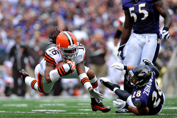 BALTIMORE - SEPTEMBER 26:  Joshua Cribbs #16 of the Cleveland Browns runs the ball against the Baltimore Ravens  at M&T Bank Stadium on September 26, 2010 in Baltimore, Maryland. The Ravens lead the Browns at the half 14-10. (Photo by Larry French/Getty I