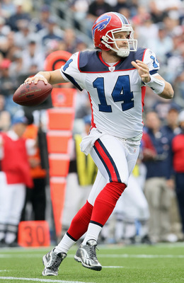 FOXBORO, MA - SEPTEMBER 26:  Ryan Fitzpatrick #14 of the Buffalo Bills looks to pass in the second half against the New England Patriots during on September 26, 2010 at Gillette Stadium in Foxboro, Massachusetts. The Patriots defeated the Bills 38-30.  (P