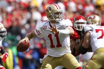 KANSAS CITY, MO - SEPTEMBER 26: Alex Smith #11 of the San Francisco 49ers looks to pass against the Kansas City Chiefs at Arrowhead Stadium on September 26, 2010 in Kansas City, Missouri. The Chiefs won 31-10. (Photo by Joe Robbins/Getty Images)